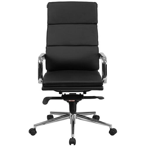 Alamont Furniture - High Back Black Leather Executive Swivel Chair with Synchro-Tilt Mechanism and Arms