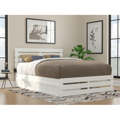 Oxford Queen Bed with Footboard and USB Turbo Charger with 2 Extra Long Drawers in White
