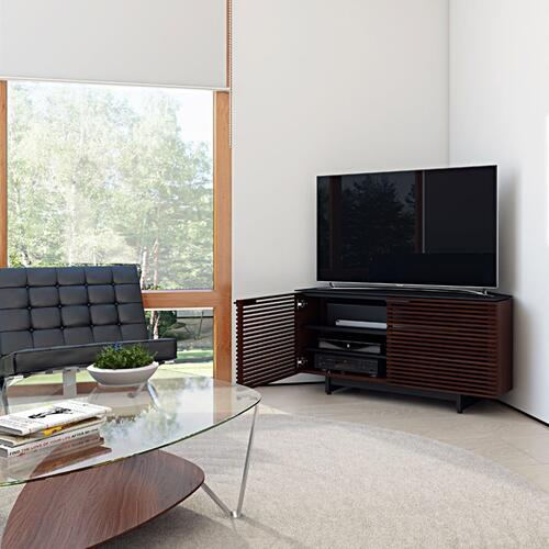 Corner Media Cabinet 8175 in Chocolate Stained Walnut