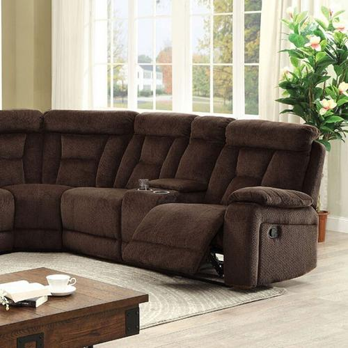 Furniture of America - Maybell Sectional W/ 2 Consoles, Brown