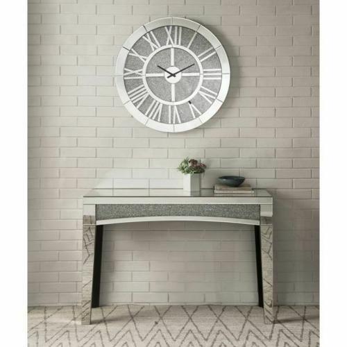 ACME Nowles Wall Clock - 97724 - Glam - Mirror, Glass, MDF, Faux Diamonds (Acrylic) - Mirrored