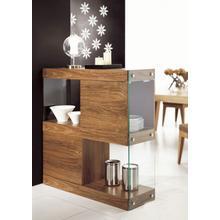 See Details - Modrest Aura Modern Walnut & Glass Square Cabinet