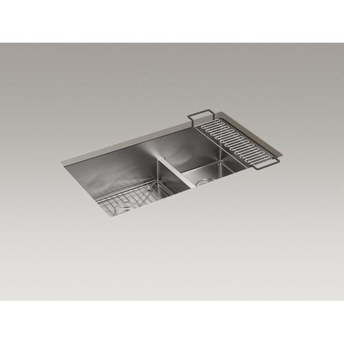 """32"""" X 18-5/16"""" X 9-5/16"""" Smart Divide Undermount Double-bowl Large/medium Kitchen Sink With Rack"""
