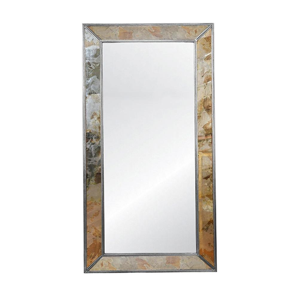 Rectangular Antiqued Floor Mirror With Silver Leafed Edging
