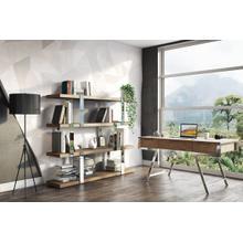 See Details - Modrest Brewer - Modern Walnut Glass & Stainless Steel Bookshelf