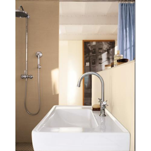 Chrome 2-handle basin mixer 160 with cross handles for hand washbasins with pop-up waste set
