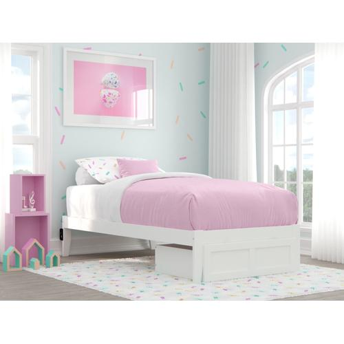 Atlantic Furniture - Colorado Twin Bed with Foot Drawer and USB Turbo Charger in White