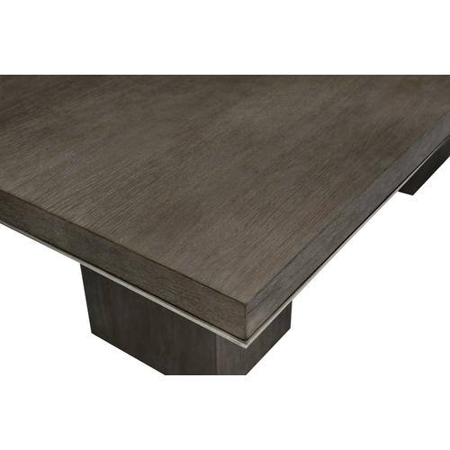 Linea Rectangular Dining Table in Cerused Charcoal (384), Textured Graphite Metal (384)