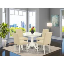 "5Pc Round 36"" Table And 4 Parson Chair With Linen White Leg And Linen Fabric Light Beige"