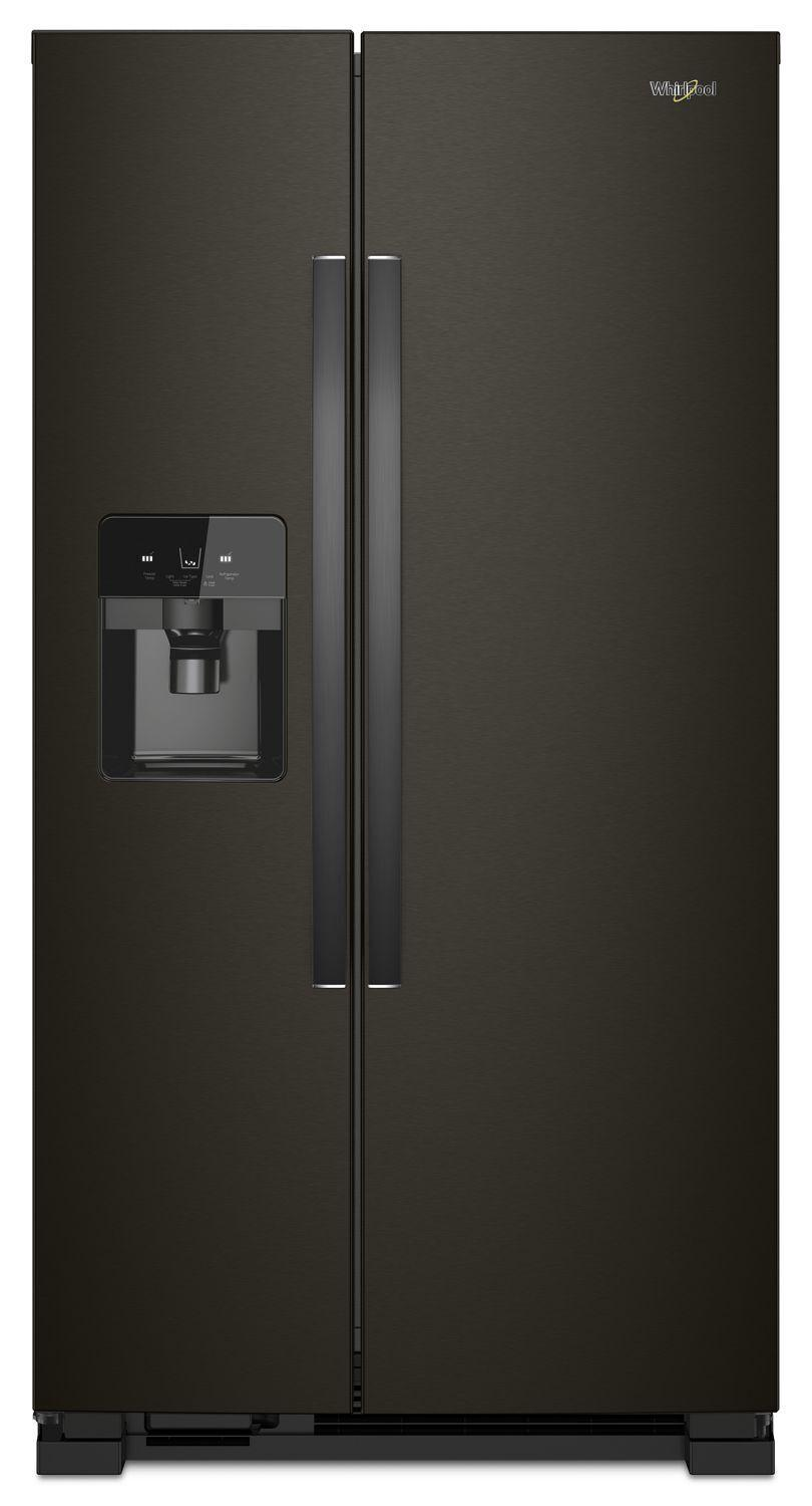 Whirlpool33-Inch Wide Side-By-Side Refrigerator - 21 Cu. Ft. Black Stainless