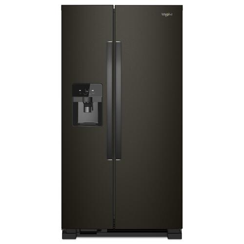 Whirlpool - 33-inch Wide Side-by-Side Refrigerator - 21 cu. ft. Black Stainless