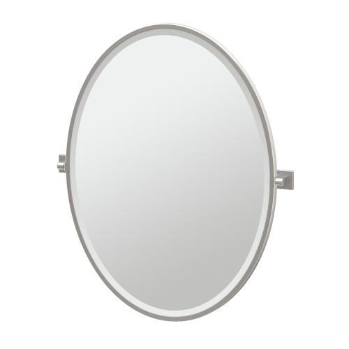 Elevate Framed Oval Mirror in Satin Nickel