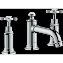 Chrome Widespread Faucet 30 with Cross Handles and Pop-Up Drain, 1.2 GPM