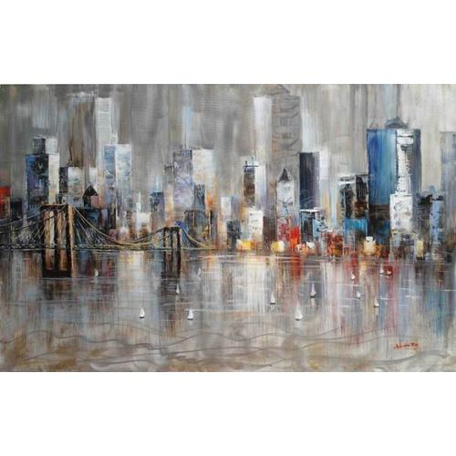Gallery - Modrest Absract City Harbor Oil Painting