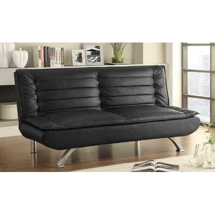 See Details - Black Faux Leather Sofa Bed