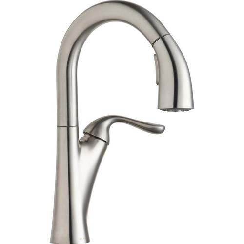 Elkay - Elkay Harmony Single Hole Bar Faucet with Pull-down Spray and Forward Only Lever Handle Lustrous Steel