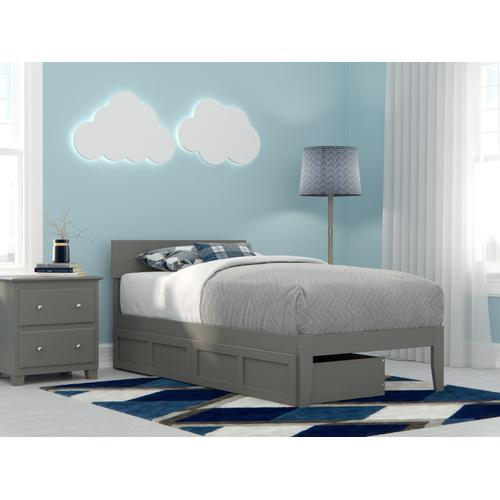 Boston Twin Bed with 2 Drawers in Grey