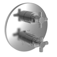 """See Details - Forever Brass - PVD 1/2"""" Round Thermostatic Trim Plate with Handle"""