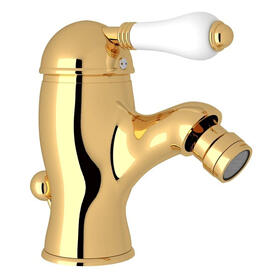 Viaggio Single Lever Single Hole Bidet Faucet - Italian Brass with White Porcelain Lever Handle