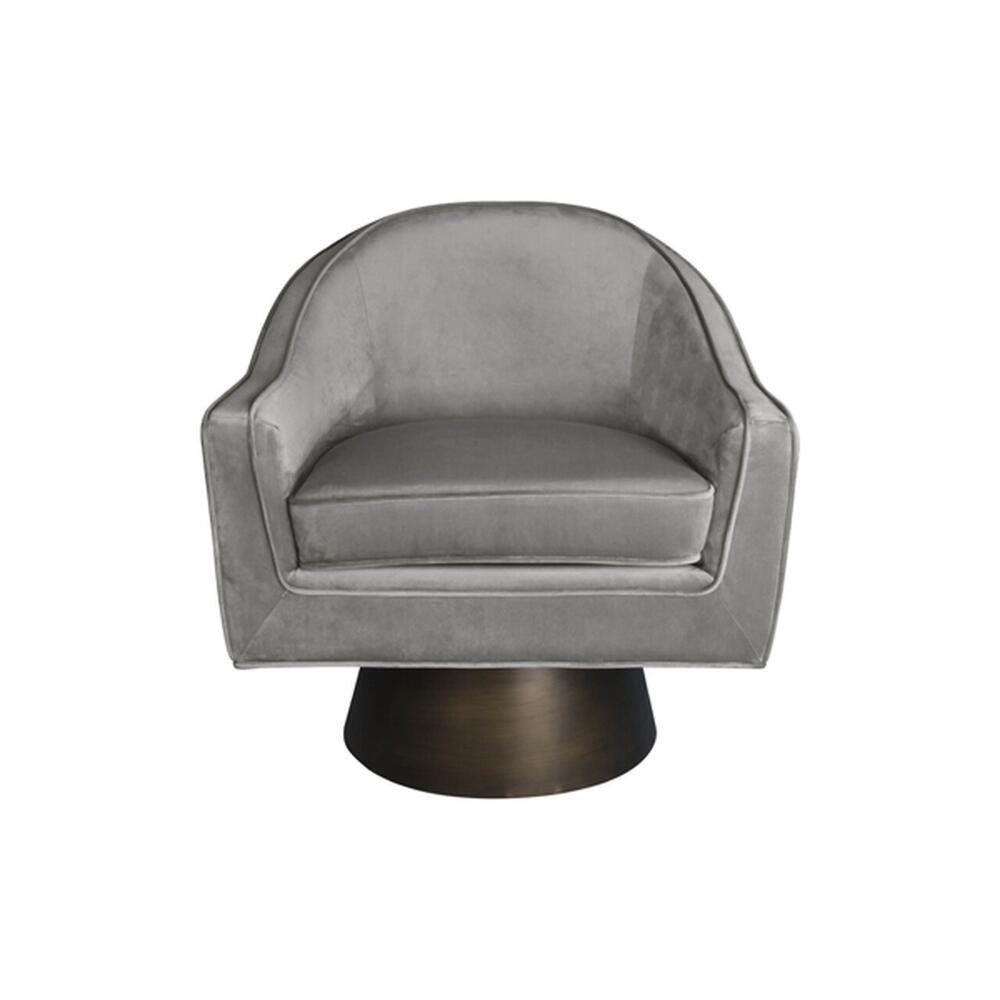 This Bold, Barrel Back Swivel Chair Will Steal the Show. Offered In Luxe Dove Grey Velvet With A Brushed Bronze Base, Our Dominic Occasional Chair Is Perfect for Your Deco Moderne or Mid Century Interior