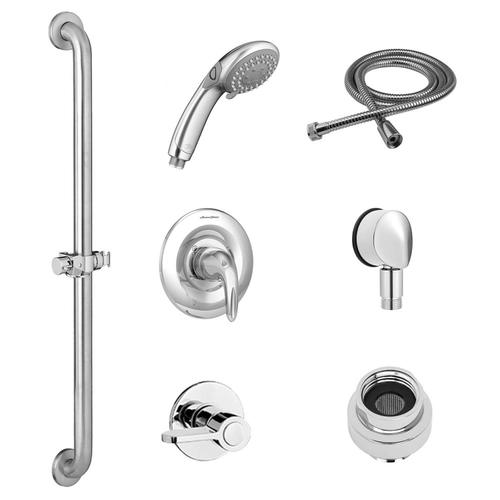 American Standard - Commercial Shower System with Slide Grab Bar and Hand Shower for Flash Rough Valve - 2.5 GPM  American Standard - Polished Chrome