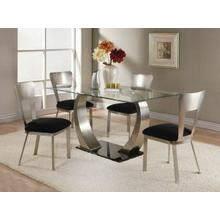 ACME Camille Dining Table - 10090 - Satin Plated & Clear Glass -