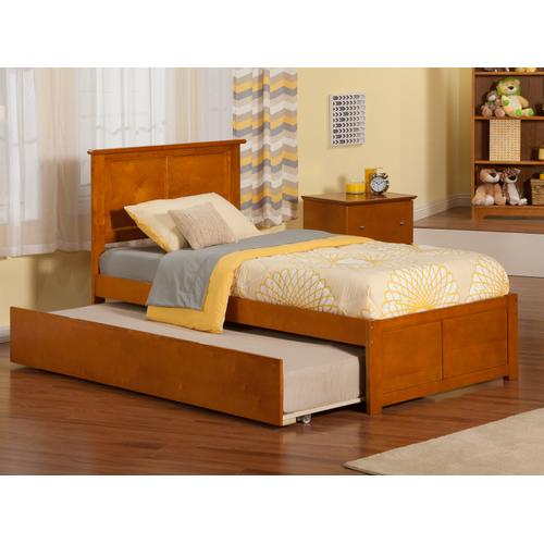 Madison Twin Flat Panel Foot Board with Urban Trundle Caramel Latte