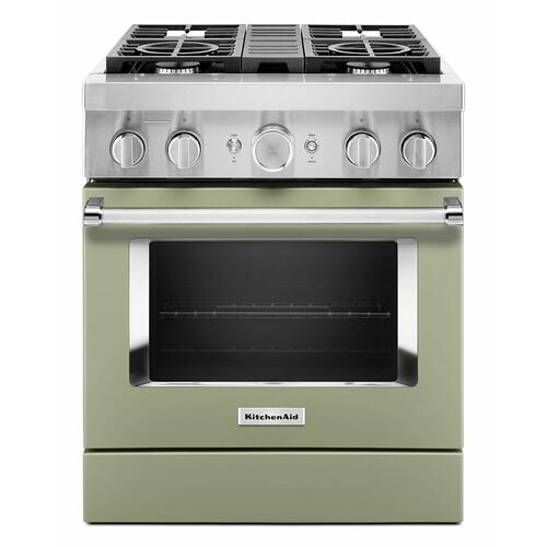 KitchenAid - KitchenAid® 30'' Smart Commercial-Style Dual Fuel Range with 4 Burners - Avocado Cream