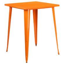 31.5'' Square Bar Height Orange Metal Indoor-Outdoor Table