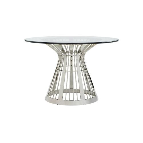 Riviera Stainless Dining Table With Glass Top 54 Inch