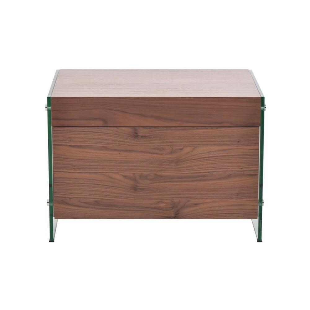 The Il Vetro Nightstand In Walnut Veneer With Glass