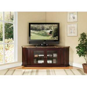 """Acme Furniture Inc - ACME Nevin Corner TV Stand - 91055 - Faux Marble & Espresso for Flat Screens TVs up to 60"""""""