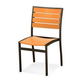 Polywood Furnishings - Eurou2122 Dining Side Chair in Textured Bronze / Tangerine