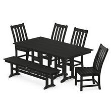 View Product - Vineyard 6-Piece Farmhouse Trestle Arm Chair Dining Set with Bench in Black