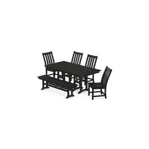 Polywood Furnishings - Vineyard 6-Piece Farmhouse Trestle Arm Chair Dining Set with Bench in Black