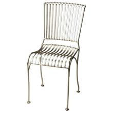 The zinc finish on this side chair is sleek and modern. Its sculptured, slatted frame is made from cast iron for a comfortable seat that can be added to any space.