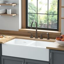 See Details - Delancey 36 x 22 Double Bowl Apron Front Cast Iron Kitchen Sink  American Standard - Brilliant White