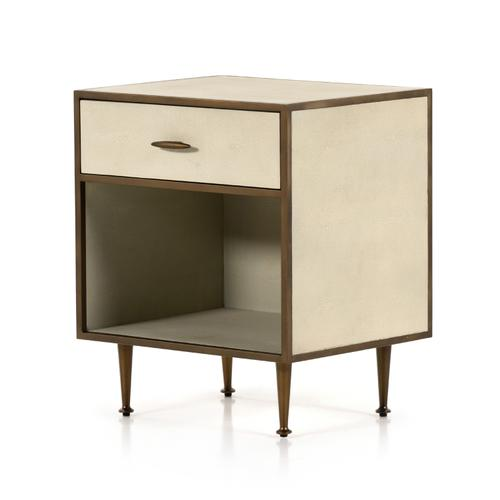 Four Hands - Ivory Shagreen Cover Antique Brass Finish Shagreen Bedside Table