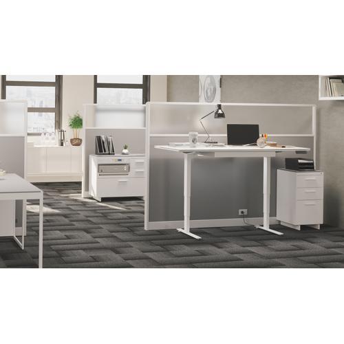 See Details - Centro 6459-2 Keyboard/Storage Drawer in Satin White Gray Glass