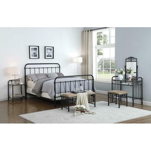 Livingston Transitional Dark Bronze Queen Bed