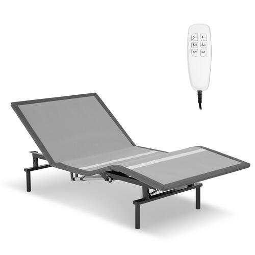 Pro-Motion 2.0 Low-Profile Adjustable Bed Base with Simultaneous Movement and MicroHook Technology, Charcoal Gray Finish, Twin