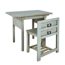 Desk w/ Chair- 2/CTN - Seafoam Finish