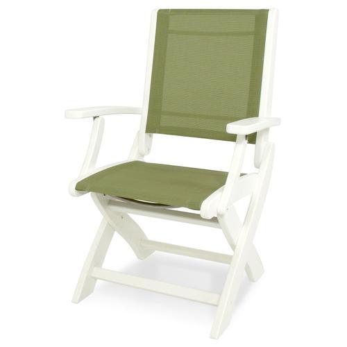 White & Kiwi Coastal Folding Chair
