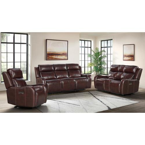 Wainwright Dual-Power Sofa  Reddish Brown