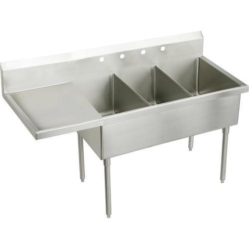 """Elkay Sturdibilt Stainless Steel 97-1/2"""" x 27-1/2"""" x 14"""" Floor Mount, Triple Compartment Scullery Sink w/ Drainboard"""