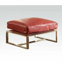 ACME Quinto Ottoman - 96673 - Antique Red Top Grain Leather & Stainless Steel