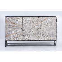 Astral Plains Reclaimed 3 Door Accent Cabinet-grey Wash