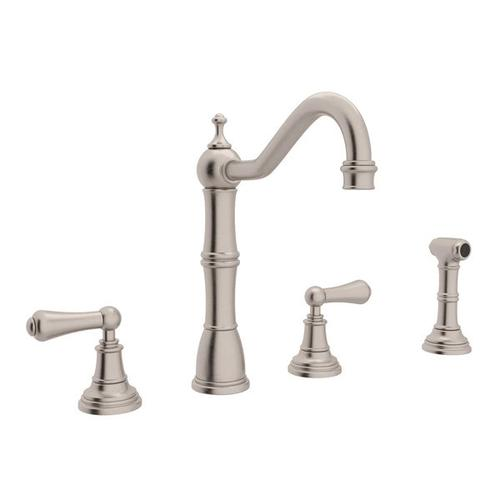 Edwardian 4-Hole Kitchen Faucet with Sidespray - Satin Nickel with Metal Lever Handle