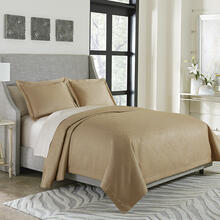 3pc Queen Bed Throw/Coverlet Set Gold