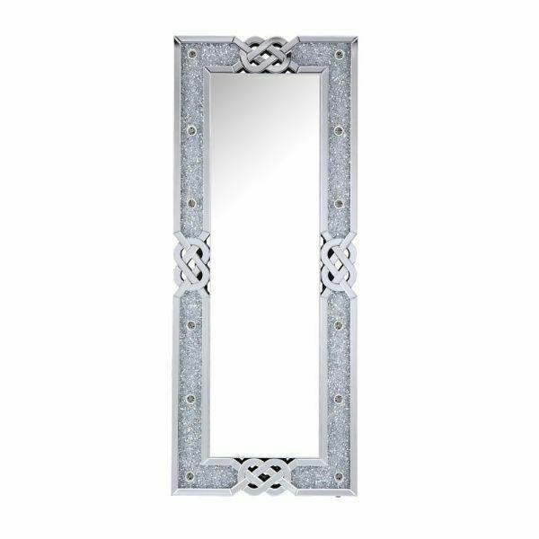 ACME Noralie Wall Decor - 97758 - Glam - LED Light, Mirror, Glass, MDF, Faux Diamonds (Acrylic) - Mirrored and Faux Diamonds